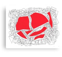 Collage red doodle 2 Canvas Print