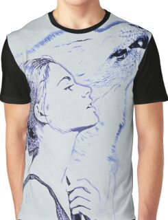 Wolf and Girl Watercolor Graphic T-Shirt