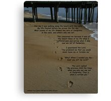 footprints in the sand with poem Canvas Print