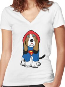 SUPERMAN DOG  Women's Fitted V-Neck T-Shirt