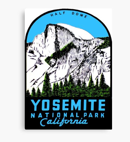 Half Dome Yosemite National Park California Vintage Travel Decal Canvas Print