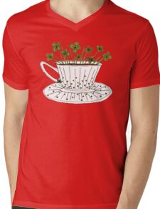 Lucky Cup of Clovers Mens V-Neck T-Shirt
