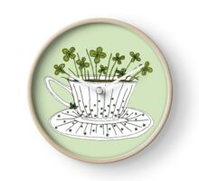 Lucky Cup of Clovers Clock