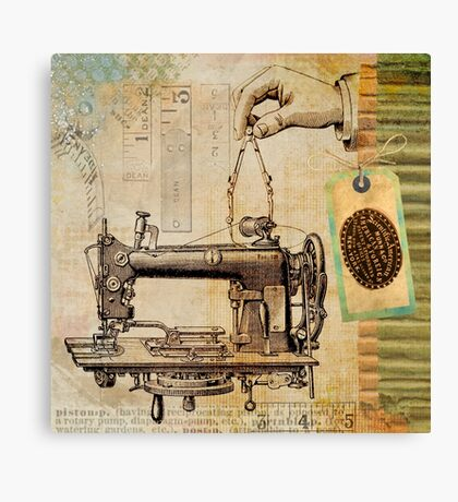 Vintage sewing machine illustration Canvas Print