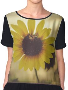 Sunflower with bee and blurred background Chiffon Top