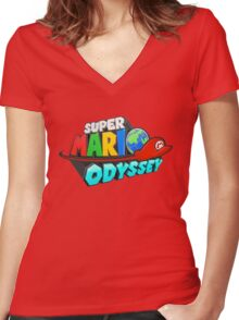 Super Mario Odyssey Logo Women's Fitted V-Neck T-Shirt