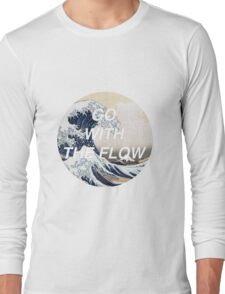 HIPSTER HOKUSAI :: GO WITH THE FLOW Long Sleeve T-Shirt