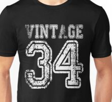 Vintage 34 2034 1934 T-shirt Birthday Gift Age Year Old Boy Girl Cute Funny Man Woman Jersey Style Unisex T-Shirt