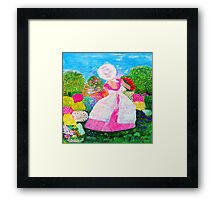 Gretchen in the Garden Pink by Marie-Jose Pappas Framed Print