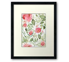 Red Floral Print Framed Print