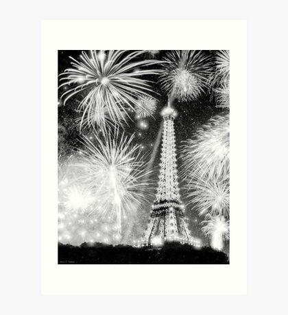 Brilliant Night In Paris - Eiffel Tower Fireworks Art Print