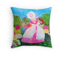 Gretchen in the Garden Pink by Marie-Jose Pappas Throw Pillow
