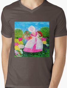 Gretchen in the Garden Pink by Marie-Jose Pappas Mens V-Neck T-Shirt