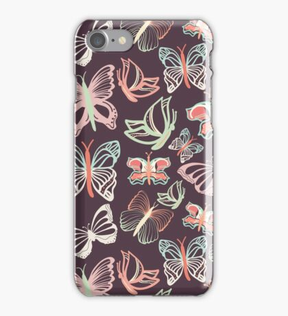 Seamless vector pattern with butterflies iPhone Case/Skin