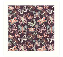 Seamless vector pattern with butterflies Art Print