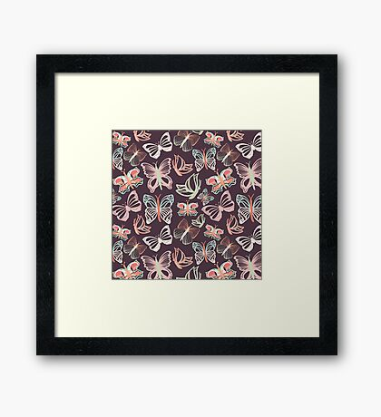 Seamless vector pattern with butterflies Framed Print