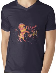 House Lion Brave At Heart Watercolor Mens V-Neck T-Shirt