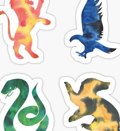 House Lion Eagle Snake Badger Watercolor Sticker