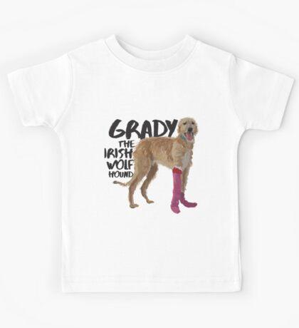 Grady the Irish Wolfhound - black text Kids Tee