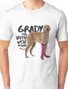 Grady the Irish Wolfhound - black text Unisex T-Shirt