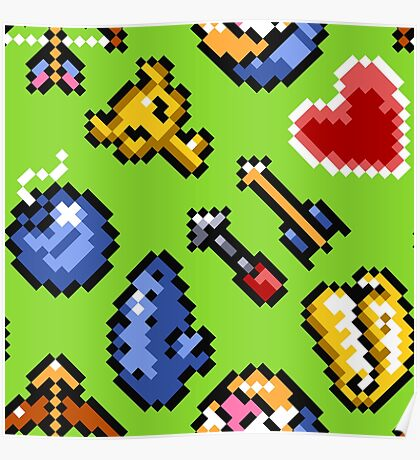 Legend of Zelda A Link to the Past / items 2 / pattern / green venus Poster