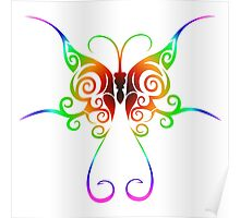 Tribal rainbow butterfly tattoo Poster