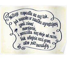 "Mikhail Bulgakov's ""The Master and Margarita"" quote in polish. Poster"