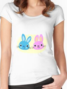 Cute pink and blue bunny cartoons Women's Fitted Scoop T-Shirt