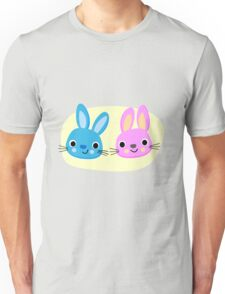Cute pink and blue bunny cartoons Unisex T-Shirt