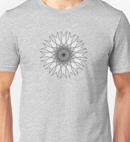 Grey Flower Black and White Unisex T-Shirt