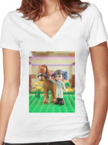Mia with her horse Women's Fitted V-Neck T-Shirt