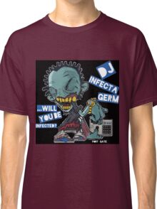"DJ INFECTA GERM ""Loves music to death"" Blue Foamposite Classic T-Shirt"