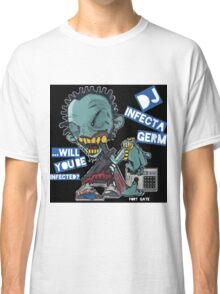 "DJ INFECTA GERM ""Loves music to death"" Blue Foamposite Classic T-Shirt"