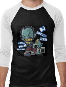 """DJ INFECTA GERM """"Loves music to death"""" Blue Foamposite Men's Baseball ¾ T-Shirt"""