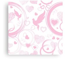 Pink valentine with hearts and doves Canvas Print
