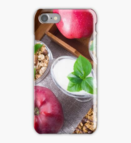 Cereal with walnuts and raisins, yogurt and apples iPhone Case/Skin