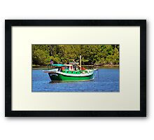 White And Green Boat Framed Print