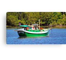 White And Green Boat Canvas Print