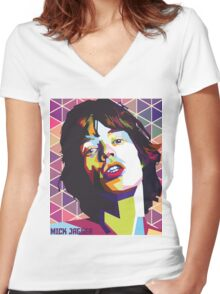 mc jagger 1 Women's Fitted V-Neck T-Shirt