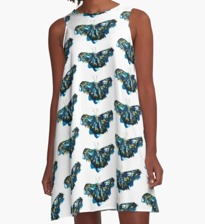 Blue Butterfly A-Line Dress