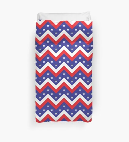 American Flag themed chevron design Duvet Cover