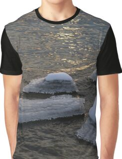Icy Islands - Glossy Grays and Golds on the Lake Graphic T-Shirt