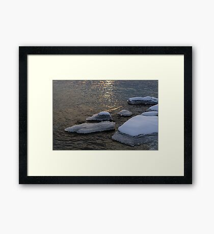 Icy Islands - Glossy Grays and Golds on the Lake Framed Print