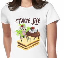 Cartoon Silhouette Chocolate Beach Volleyball Womens Fitted T-Shirt