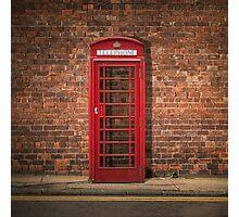 British Phone Box Against Red Brick Wall Photographic Print