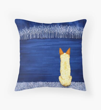 Blue Forest, Starry Sky (Red Heeler), by Artwork by AK Throw Pillow