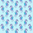 Watercolor Seahorse Pattern by SaradaBoru