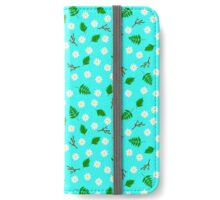 White flowers green leaves and branches spring design iPhone Wallet/Case/Skin
