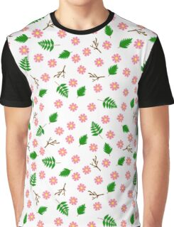 Pink flowers green leaves and branches spring design Graphic T-Shirt