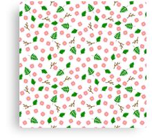Pink flowers green leaves and branches spring design Canvas Print